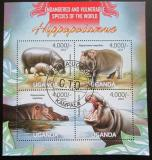 Poštovní známky Uganda 2013 Hroši Mi# 3040-43 Kat 19€
