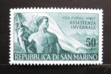 Poštovní známka San Marino 1956 Dělník a vlajka Mi# 546