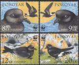 Poštovní známky Faerské ostrovy 2005 Ptáci, WWF Mi# 530-33