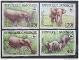 Poštovní známky Gabon 1988 Sloni, WWF Mi# 1009-12
