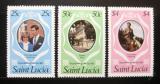Poštovní známky Svatá Lucie 1981 Královská svatba Mi# 543-45