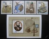 Poštovní známky DDR 1990 Unie telekomunikací Mi# 3332-35 + Block 101