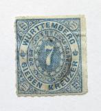 Poštovní známka Wurttemberg 1869 Nominální hodnota Mi# 39 Kat 22€