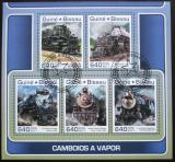 Poštovní známky Guinea-Bissau 2017 Staré parní lokomotivy Mi# 9452-56 Kat 12€