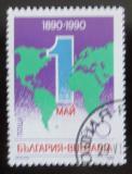 Poštovní známka Bulharsko 1990 Den práce, mapa světa Mi# 3836