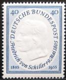 Poštovní známka Německo 1955 Friedrich Schiller Mi# 210 Kat 18€