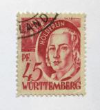 Poštovní známka Wurttemberg 1947 Friedrich Holderlin Mi# 9