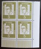 Poštovní známky Německo 1961 Albertus Magnus, čtyřblok roh Mi# 347