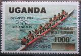 Poštovní známka Uganda 1985 LOH Los Angeles, veslování, přetisk Mi# 443