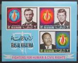 Poštovní známky Rás al-Chajma 1968 Osobnosti neperf. Mi# Block 41 B