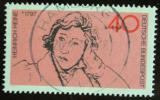 Poštovní známka Německo 1972 Heinrich Heine, básník Mi# 750