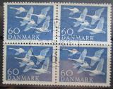 Poštovní známky Dánsko 1956 Labuť zpěvná čtyřblok Mi# 365