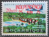 Poštovní známka Mosambik 1975 Letadlo nad mostem přetisk Mi# 593