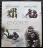 Poštovní známky Burundi 2012 Gorily neperf., vzácné Mi# 2848-51 B