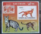 Poštovní známka Komory 2009 Kočky neperf. Mi# 2209 B Block