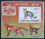 Poštovní známka Komory 2009 Kočky neperf. Mi# 2210 B Block
