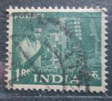 Poštovní známka Indie 1955 Telefonní technik Mi# 250