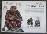 Poštovní známka Komory 2009 Gorily neperf., vzácné Mi# Block 478 B