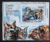 Poštovní známka Komory 2011 Kočkovité šelmy neperf. Mi# 3061 B Block