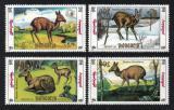 Poštovní známky Mongolsko 1990 Moschus moschiferus Mi# 2130-33