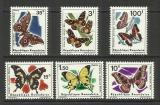 Poštovní známky Rwanda 1966 Motýli Mi# 147-52