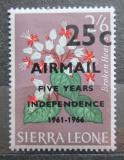 Poštovní známka Sierra Leone 1966 Květiny přetisk Mi# 361