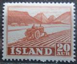 Poštovní známka Island 1950 Traktor na poli Mi# 264