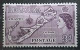 Poštovní známka Bermudy 1953 Mapa ostrovů Mi# 135