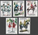 Poštovní známky Španělsko 1975 Vojenské uniformy Mi# 2130-34 Kat 6€