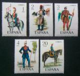 Poštovní známky Španělsko 1977 Vojenské uniformy Mi# 2274-78