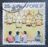 Poštovní známka Singapur 1990 Ptačí klece Mi# 603