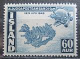 Poštovní známka Island 1949 Mapa ostrova Mi# 261