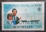 Poštovní známka Seychely 1981 Charles a Diana přetisk Mi# 483