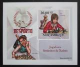 Poštovní známka Mosambik 2010 Slavné šachistky neperf. Mi# 3693 B Block