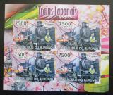 Poštovní známky Burundi 2012 Japonské lokomotivy neperf. Mi# Block 224 B