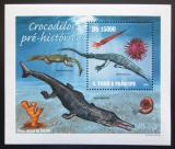 Poštovní známka Svatý Tomáš 2010 Prehistoričtí krokodýli Mi# 4303 Block