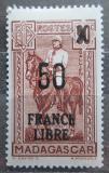 Poštovní známka Madagaskar 1943 Generál Gallieni přetisk Mi# 308