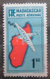 Poštovní známka Madagaskar 1941 Letadlo a mapa Mi# 273