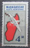 Poštovní známka Madagaskar 1942 Letadlo a mapa Mi# 322