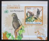 Poštovní známka Komory 2009 Papoušci DELUXE neperf. Mi# 2391 B Block