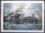 Poštovní známka Libérie 1994 Lokomotivy Mi# Block 133