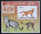 Poštovní známka Komory 2009 Kočky DELUXE Mi# 2209 Block