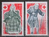 Poštovní známky Francie 1977 Červený kříž, vánoční figurky Mi# 2054-55