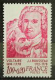 Poštovní známka Francie 1978 Voltaire a Rousseau, spisovatelé Mi# 2111