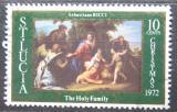 Poštovní známka Svatá Lucie 1972 Vánoce, umění Mi# 317