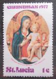 Poštovní známka Svatá Lucie 1977 Umění, vánoce Mi# 421
