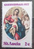 Poštovní známka Svatá Lucie 1977 Umění, vánoce Mi# 422