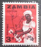 Poštovní známka Zambie 1964 Sběr bavlny Mi# 4