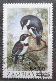 Poštovní známka Zambie 1989 Lesknáček hvízdavý přetisk Mi# 484