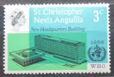 Poštovní známka Svatý Kryštof 1966 Budova WHO v Ženevě Mi# 170